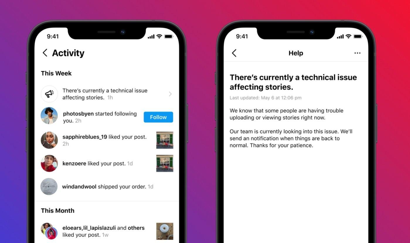 Instagram notificações de erros em acesso