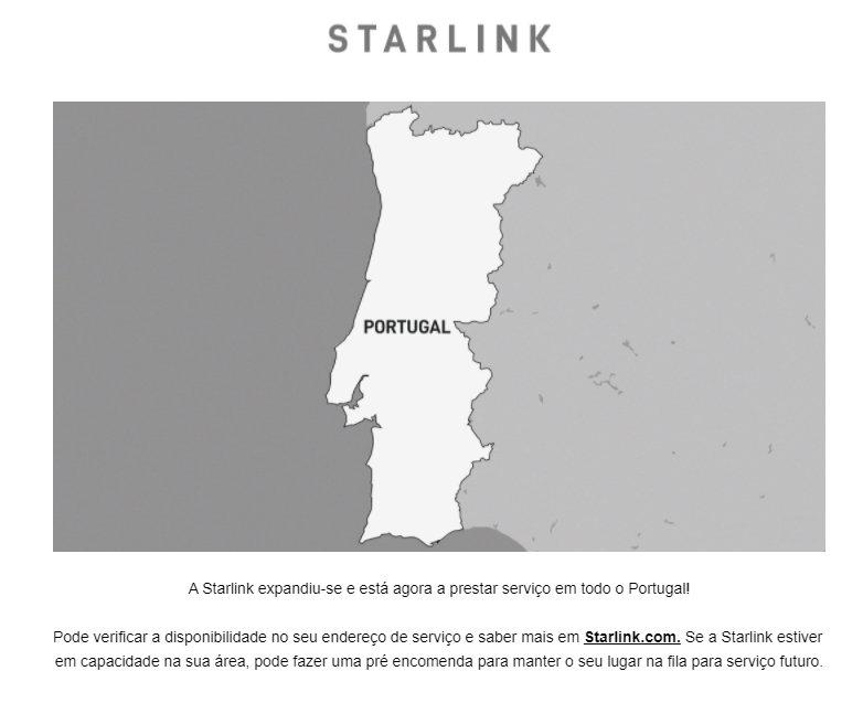 email da starlink disponível em portugal